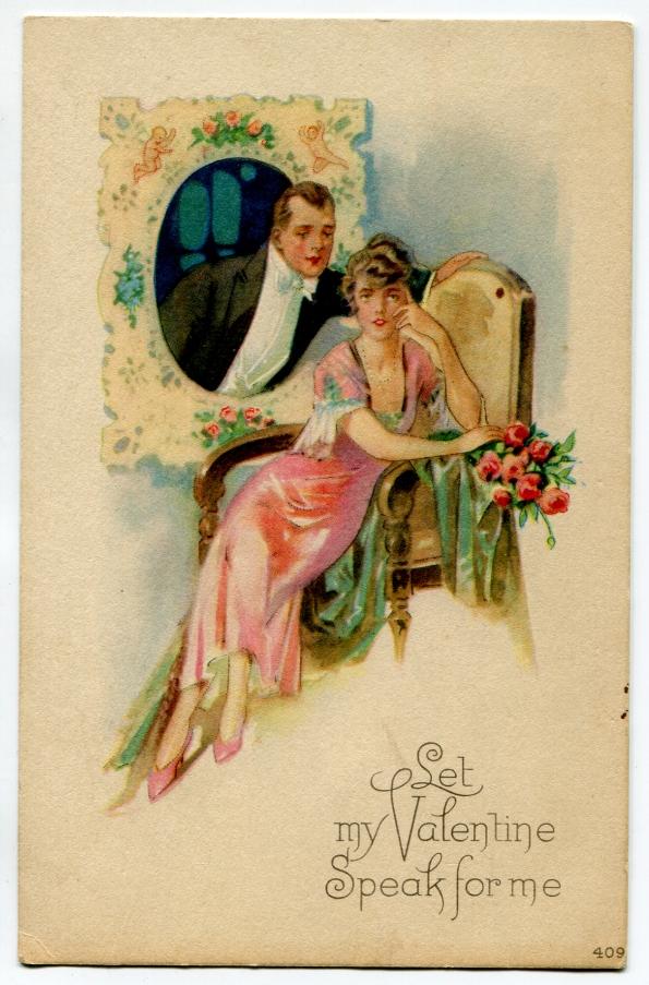 36 antique post card Valentine 1920s