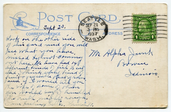 39 antique post card 1937 reverse