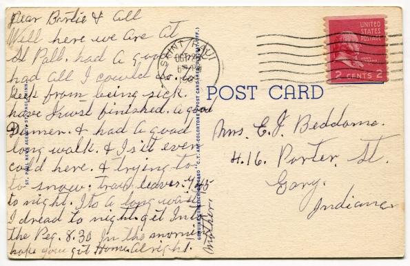 42 antique post card 1939 reverse
