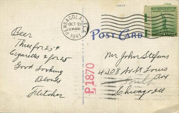 53 antique post card 1941 reverse