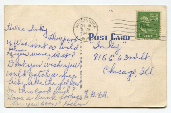 59 antique post card 1947 reverse