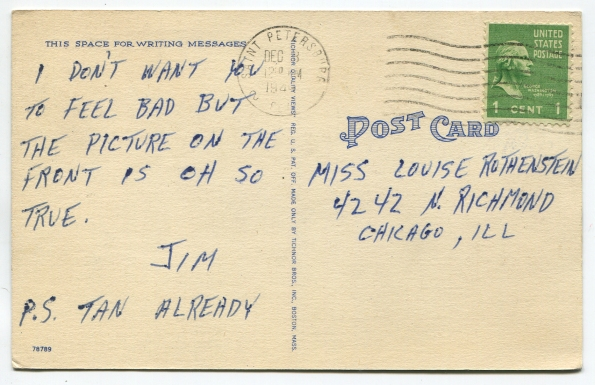 63 antique post card 1949 reverse