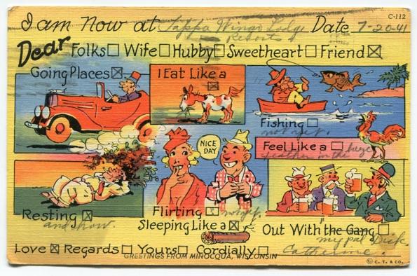 68 antique post card 1941