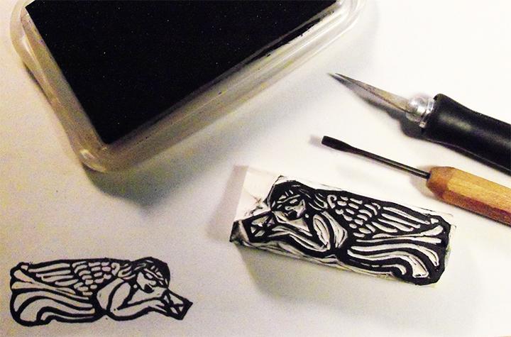 Hand carved rubber Meditate stamp