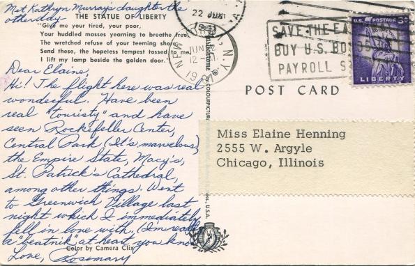 Postcard NYC 1961 reverse