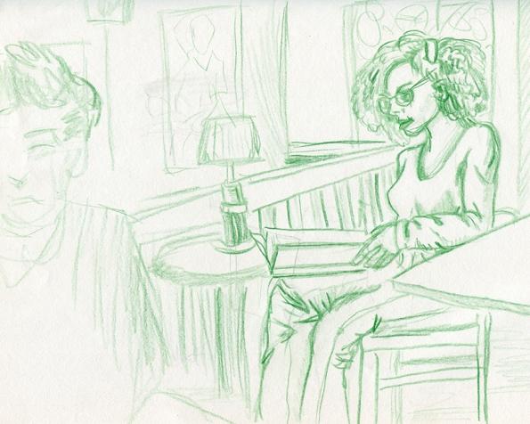 Cafe sketch Shellie Lewis