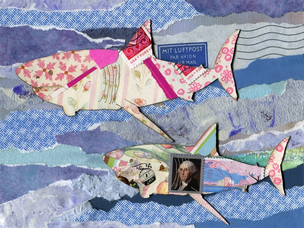 Art Sharks by Shellie Lewis, paper collage and laser cutter, 6x8 inches, 2014