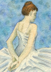 ATC Ballerina, watercolours and pearlescent watercolours