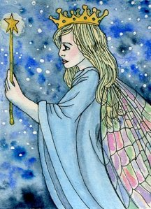 ATC Night Sky Faery, Pen and ink with watercolour